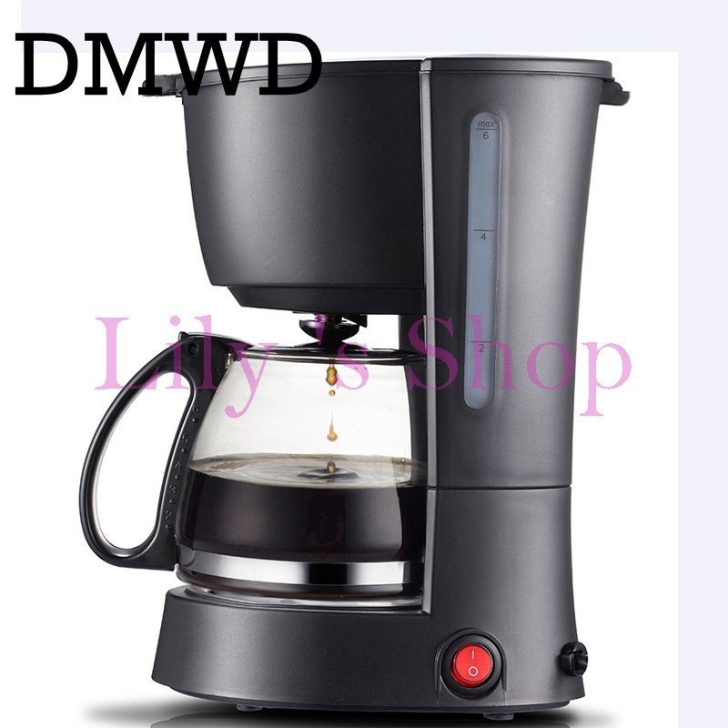 DMWD Household automatic cafe American electric coffee machine coffee pot Anti-drip espresso coffee maker tea boiler 600ml EU US coffee maker uses the american drizzle to make tea drinking machine