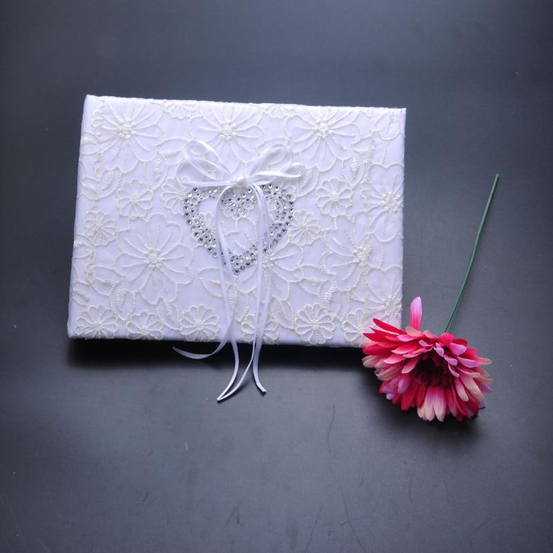 5 pièces/ensemble accessoires de décoration de mariage Satin anneau de mariage oreiller + panier de fleurs + livre d'or + ensemble de stylo + jarretière - 2