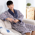 2016 Winter Autumn Thick Plaid Robes Men's Fleece Cotton-padded Bath Robes Gentlemen's Homewear sleepwear Lounges  Pyjamas XXXL