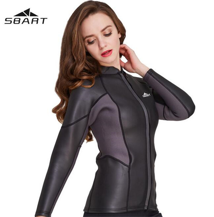 SBART 2mm Women Jacket Top Warm Diving Suits Snorkeling Suits Swim Suits Swimwear Neoprene Long Sleeve sbart upf50 806 xuancai