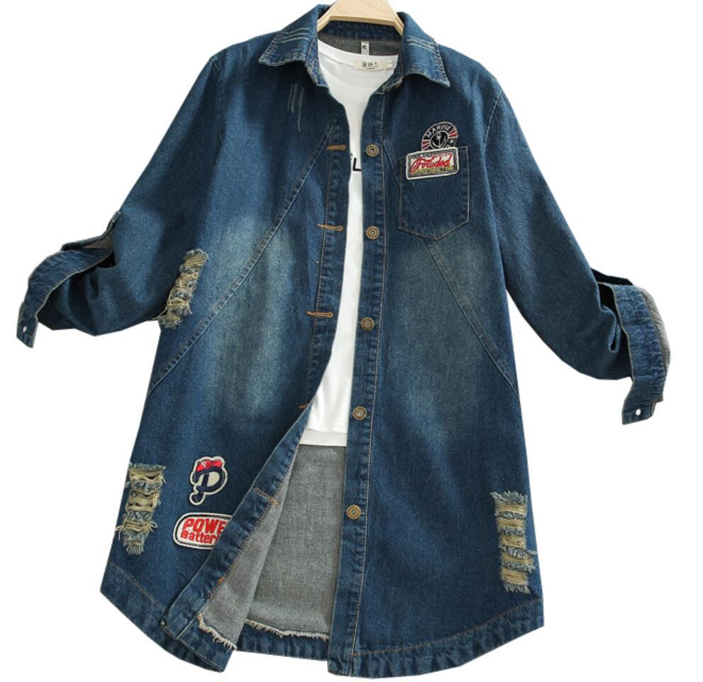 plus size 5XL 2020 autumn Printed casual loose Women Vintage Denim Trench Coat hole Windbreaker jeans jackat