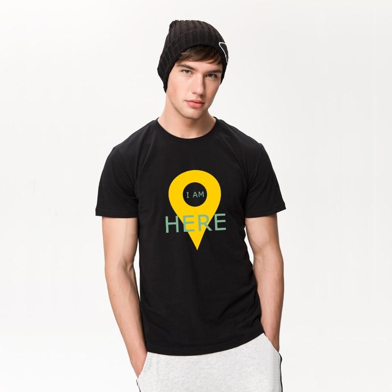 HanHent GPS Positioning Mens T-shirts Creative Cotton Funny Tshirt Boys Short Sleeve Summer Tee shirts Geeks T shirts Men