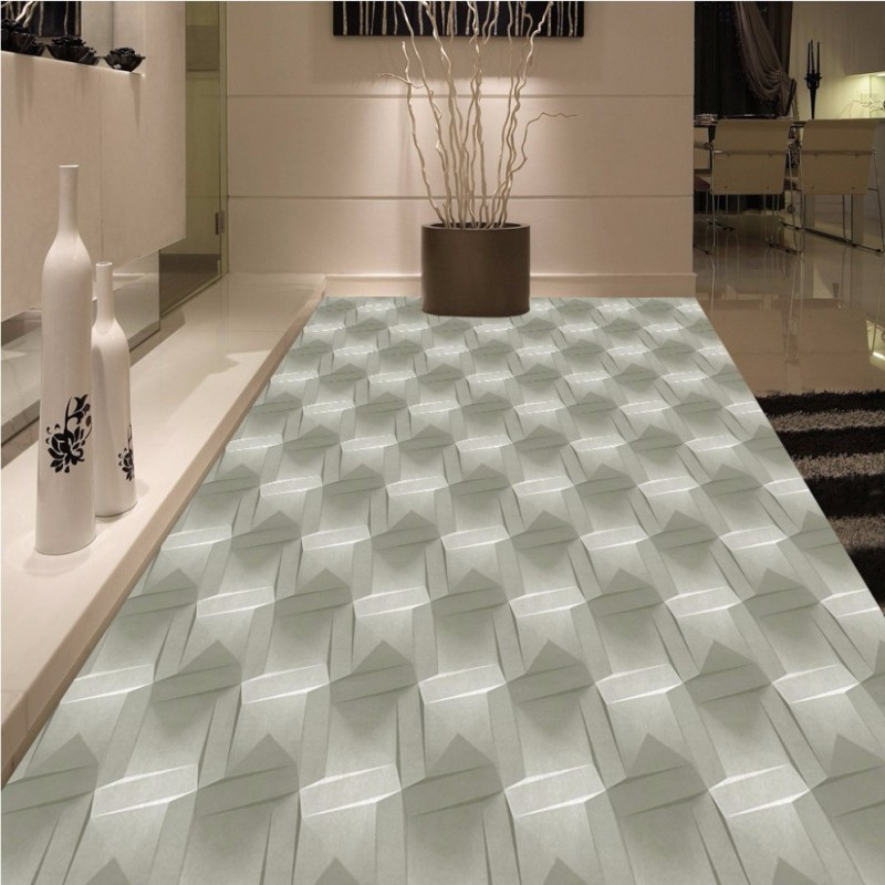 Free Shipping 3D stereo Modern fashion geometric floor wallpaper bathroom hotel non-slip PVC floor mural