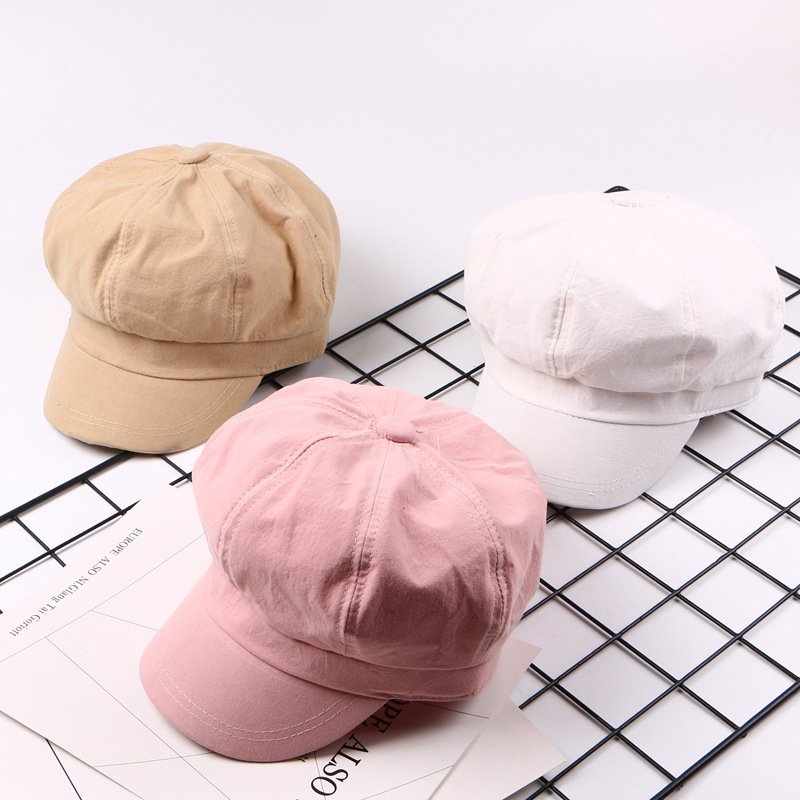 Spring and summer women's solid color Octagonal Hats painter caps multi-colored octagonal cap casual hat free shipping