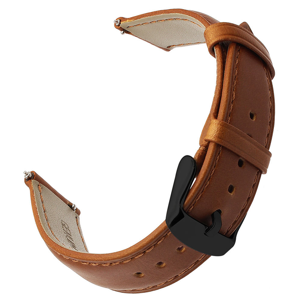 Imported Genuine Leather Watchband for Samsung Galaxy Watch 42mm 46mm Active 2 40mm 44mm Quick Release Band Steel Clasp Strap