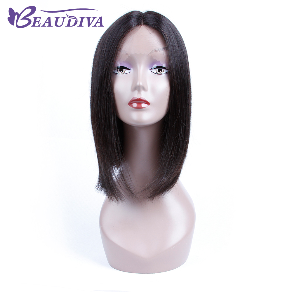 """BEAUDIVA Pre-Colored 1B Natural Color Straight Lace Front Human Hair Wigs 12"""" Human Hair Whole Machine Wigs For Black Women"""