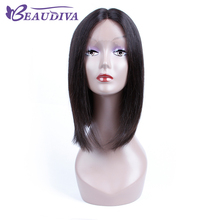 "BEAUDIVA Pre-Colored 1B Natural Color Straight Lace Front Human Hair Wigs 12"" Human Hair Whole Machine Wigs For Black Women"