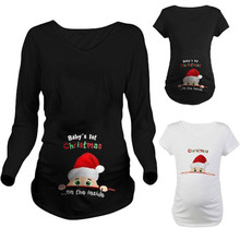 Hot Enceinte Trendy Tops For Pregnant Women Santa Claus Print Maternity Clothes New Year Christmas Pregnancy Tee Shirt Clothing cheap Tees Full Polyester Cotton B167 V-Neck Regular Cartoon Natural Color Broadcloth T Shirt For Pregnant Women White Black Gray