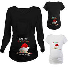 trendy enceinte tops for pregnant women maternity shirts clothes santa claus print new year christmas pregancy - Christmas Maternity Shirts