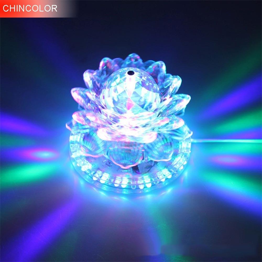 8w 48leds seven color sun pattern plastic stage lamp ac 90 240v - Multi Layer Lotus Led Stage Light Sound Actived Auto Rgb Color Ac85 265v Eu Plug
