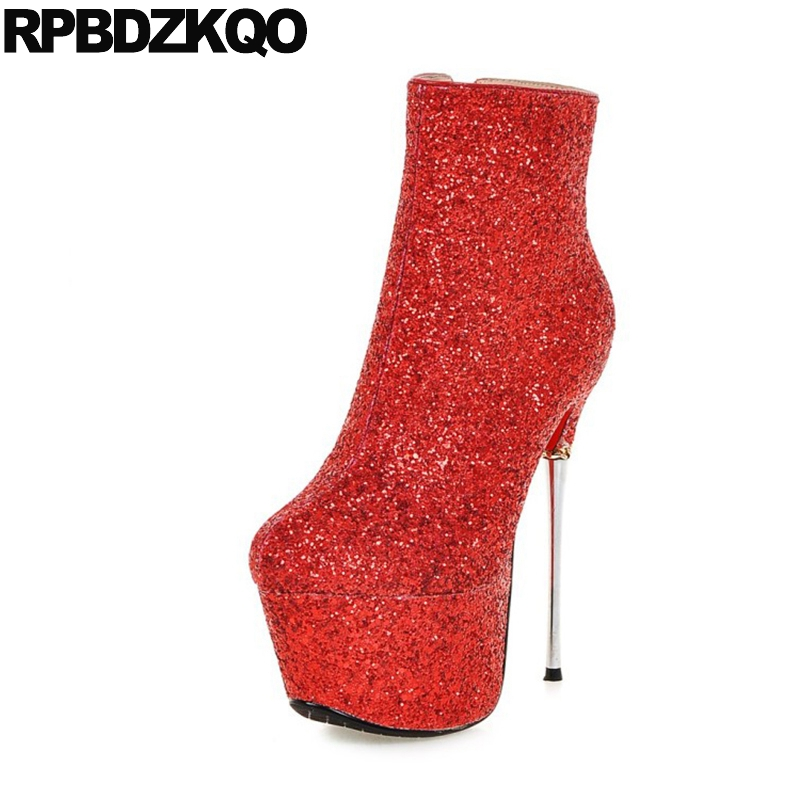 Здесь продается  Booties Metal Heel Boots Sexy High Silver Winter Women Shoes Glitter Sequin Bling Fetish Platform Ankle Big Size Thin Extreme  Обувь