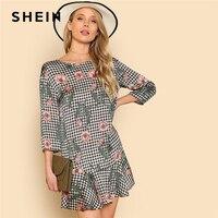 SHEIN Mixed Print Ruffle Dress Floral Plaid Boat Neck 3 4 Sleeve Drop Waist Short Dress