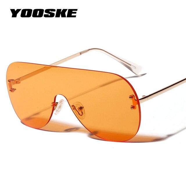 5b917849e4 YOOSKE 2019 Oversized Sunglasses Women Vintage Luxury Brand Designer Sun  glasses For Women Brown Black Red Orange Eyewear UV400