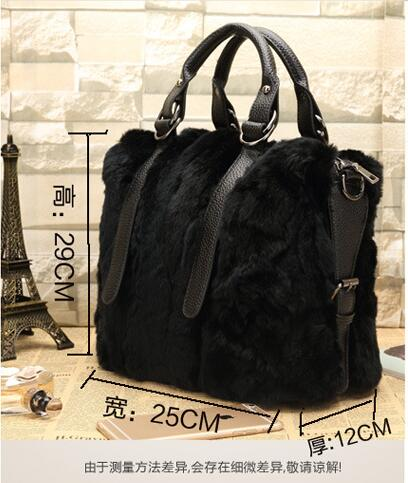 e75a7409b7 Femmes Lapin Réel D'épaule Fourrure D'hiver Épaule Corps Sac Croix Black  brown grey Mode ...