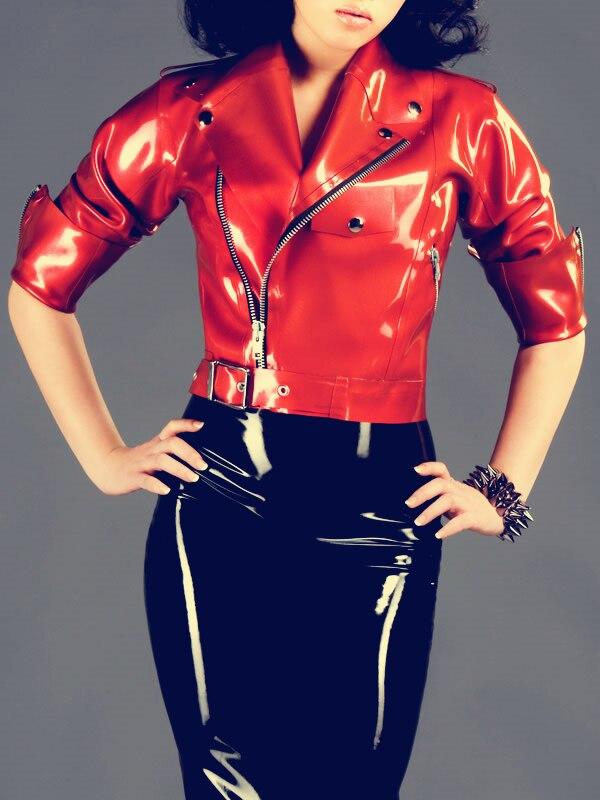 Латекс куртка на молнии рукава латекс выход fit сексуальные костюмы из латекса Для женщин пальто 0,8 мм Толщина тяжелый латекс одежды