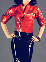 Latex Jacket Zipped Sleeves Latex Out fit Sexy Costumes Latex Women's Coat 0.8mm Thickness Heavy Latex Garments