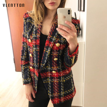 2019 Autumn Vintage Plaid Tweed Jacket Blazer Woman Outwear Coat Fashion Double