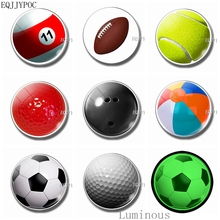 Luminous Fridge Magnets 30 Mm Glass Refrigerator Decoration - Football Tennis Table Rugby Golf Ocean Ball