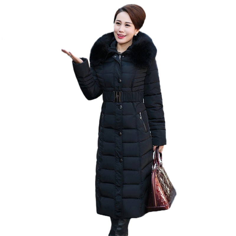 Winter Jacket New middle aged Long Cotton Outerwear Thickening Hooded Fur collar Cotton Parkas Large size