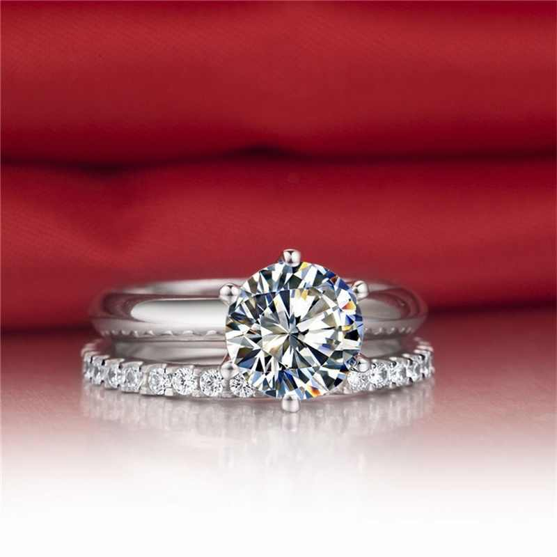 Vecalon настоящие хорошие драгоценности 925 пробы Серебряное бесконечное кольцо комплект 5A циркониевые Cz Обручение обручальные кольца для женщин свадебный подарок