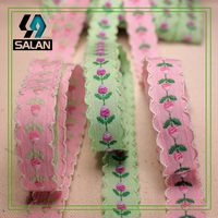 Pastoral style, four color optional, double wave cotton tulip, flower exquisite embroidery lace ribbon