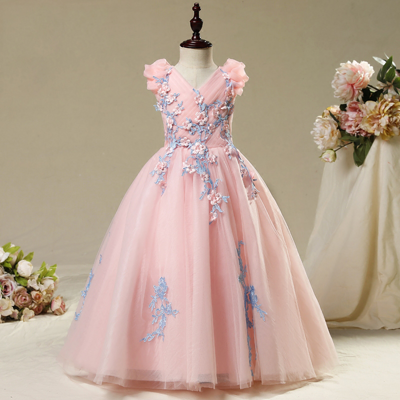 New Flower Girl Dresses Hole Ball Gown Lace Sleeveless V-Neck Long Wedding Pageant First Communion Dresses for Little Girl IY77