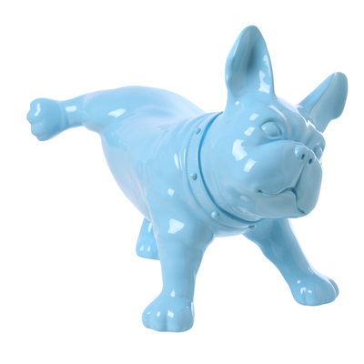 Blue Plastic French Bulldog Dog Mannequin With Revolved Head For Display D50