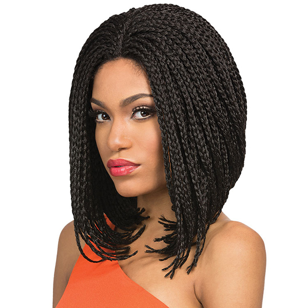 Short Black Bob Synthetic Lace Front Wig Box Braid With Heat Resistant Fiber For Africa