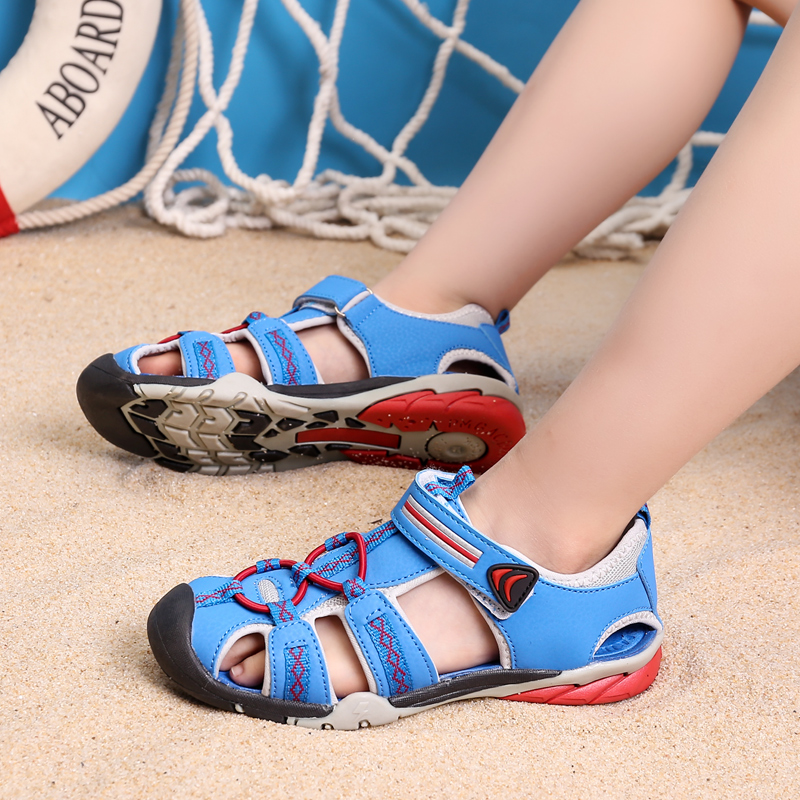 Boys beach shoes for kids 2018 summer closed toe sandals for girls children breathable soft leather sandals child footwear