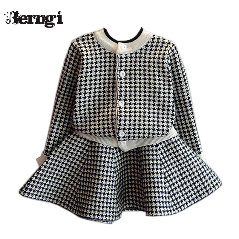 Berngi Girls Clothing Sets Kids Houndstooth <font><b>Knitted</b></font> Suits Long Sleeve Plaid Jackets+Skirts 2Pcs for Kids Suits