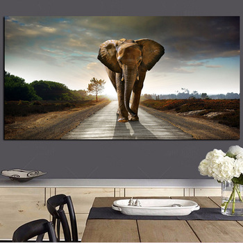 African Elephant Landscape Oil Painting Printed on Canvas 1