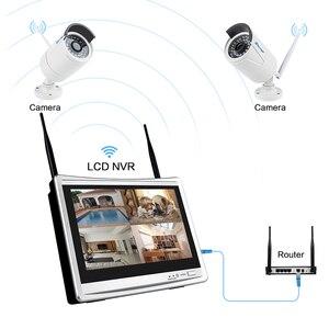 "Image 3 - Techage 8CH 1080 P אלחוטי אבטחת מצלמה מערכת 12 ""LCD מסך Wifi NVR 2MP חיצוני אודיו מצלמה מעקב וידאו מערכת סט"