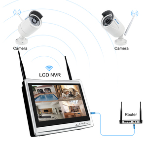 "Image 3 - Techage 8CH 1080P نظام كاميرا أمان لاسلكية 12 ""شاشة LCD واي فاي NVR 2MP في الهواء الطلق الصوت كاميرا نظام مراقبة بالفيديو مجموعة"