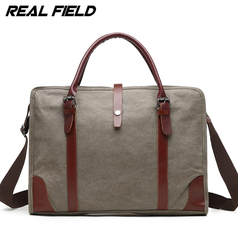 Real Field Laptop Bag Vintage Crossbody Bag Canvas Shoulder Bags Men Messenger Bag Tote Briefcase Handbag Fit 15.6 Laptop 256 aosbos fashion portable insulated canvas lunch bag thermal food picnic lunch bags for women kids men cooler lunch box bag tote