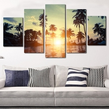 Modern Home Wall Art Decor Framework Modular Pictures 5 Pieces Beach Coconut Tree Sunset Landscape HD Printed Painting On Canvas