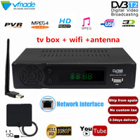 Vmade full HD 1080P Digital Ground TV Receiver DVB T2 with USB WIFI+TV Antenna Support Youtube DVB TV BOX Tape network interface