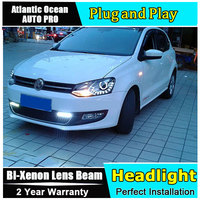 AUTO PRO For Vw Polo Headlights 2011 2014 Bi Xenon Lens Car Styling H7 Parking LED