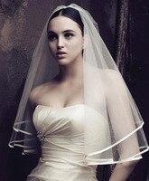 2018 Simple Vintage Wedding Accessories Soft Ribbon Edge White Ivory Wedding Veils Two Layer Bridal Veil veu de noiva LT013