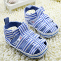 New Style 2017 Summer Baby Slippers Fashion Blue Stripe Baby Boys Girls Firstwalkers Soft Bottom Anti Slip Kids Infant Moccasins
