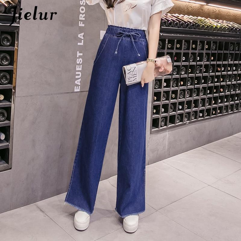 Jielur Loose S-5XL Plus Size   Jeans   for Women Korean Fashion Split Wide Leg Denim Pants Simple Slim Blue   Jean   Femme 2019 Dropship