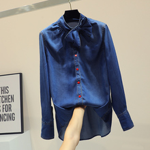 Korean Style Loose Denim Shirt Female Bf Butterfly Knot Temperament Coat 2019 Spring Fall Girl Students Long Jean Shirts Women