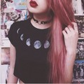 2017 Limited edition summer style punk rock vintage harajuku sexy unif same paragraph moon print cropped black women top cropped
