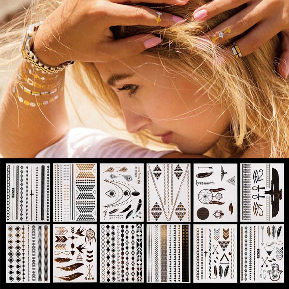 12 Pcs Metallic Bronzing Retro Fashion Temporary Tattoo Waterproof Body Art Makeup Tattoo Stickers 4