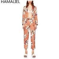 HAMALIEL Vestidos Sumer Women 2 Piece Pant Set 2017 Runway Print Flower Blazer Sashes Coat Fashion