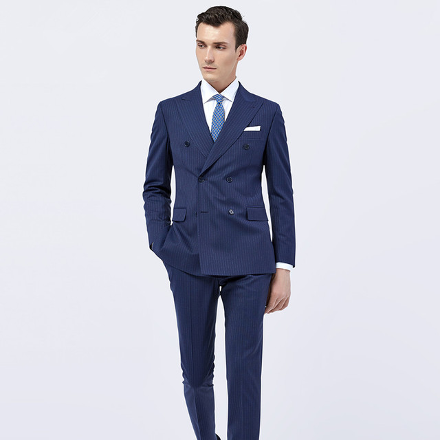 Navy Pinstripe Suit Custom Made Wedding Suits For Men Tailor Made