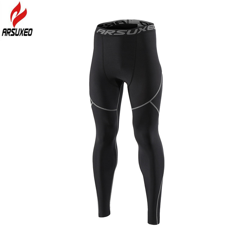 Arsuxeo Winter Warm Thermal Fleece Running Tights Men Gym Fitness Crossfit Football Training Sport Leggings Compression Pants цена