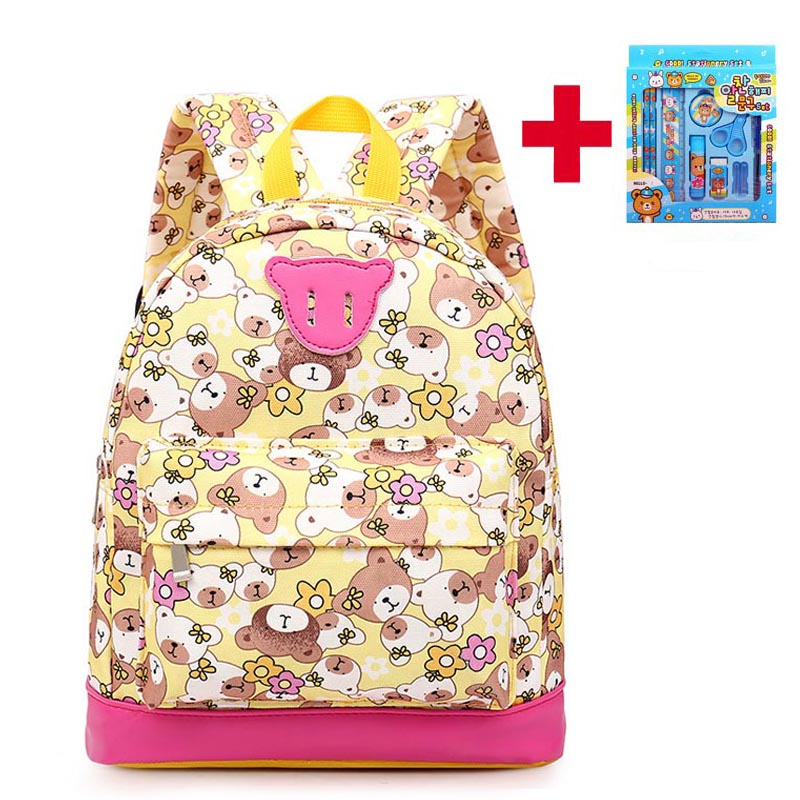 Cute Bear Pattern Canvas School Backpacks For Toddler Girls Shoulder Bags Children Mochi ...
