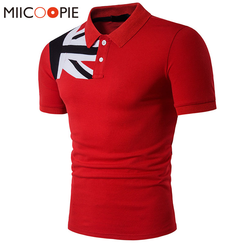 Summer Men Polo Shirt Casual British Flag Turn-Down Collar Slim Fit Cotton Patchwork Short Sleeve Fashion Polo Shirt XXL