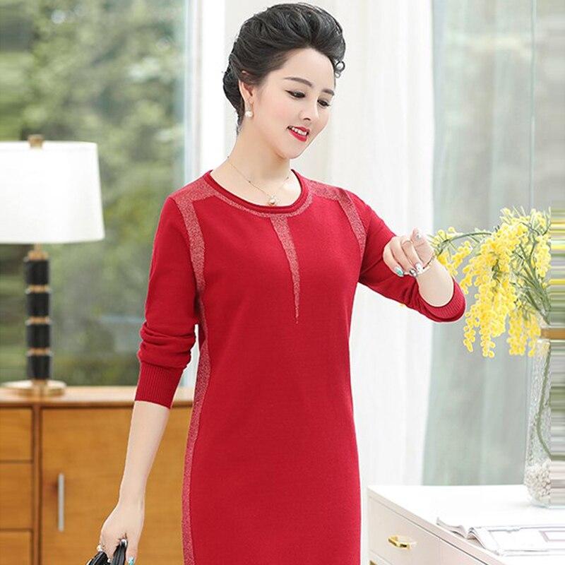 Chandail Et Automne De Laine cou Casual À Noir O Solide rouge Tricoter Pull Grande Printemps Long Rouge Couleur Femmes corail Taille 2019 Nouvelles nw80vmN