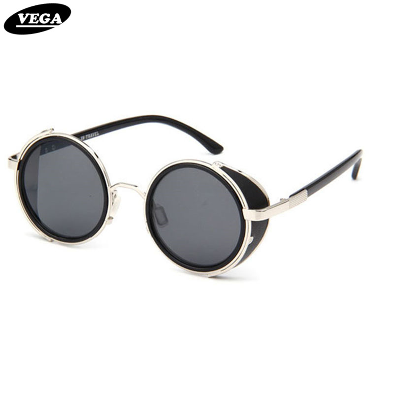 VEGA Leather Steampunk Goggles Black Round Vintage Sunglasses Men Women Circle Gothic Glasses UV400 Tinted Lenses 2817